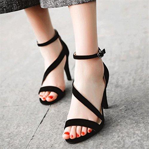 41 a EU36 Da GAOGENX da Vestito cinghie donna Scarpe sandali 35 Tacco scamosciato a spillo Roma OfwSO6qZ