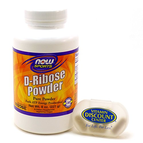 Bundle - 2 Items : 1 bottle of D-Ribose Pure Powder by Now Foods 8 oz. and 1 VDC Pill Box ()