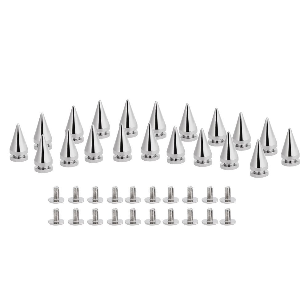 20 piezas 10 x 20 mm plata cono pinchos tornillos tuercas DIY Craft Cool remaches Punk