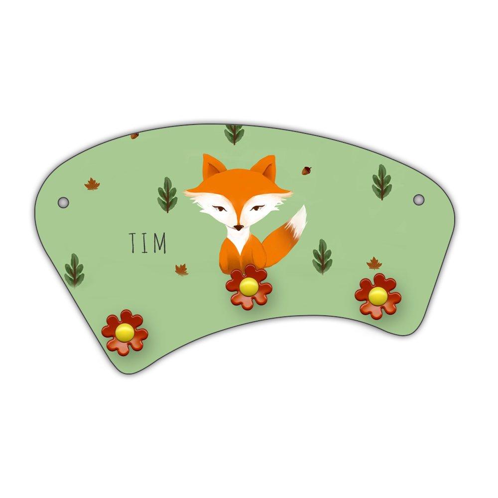 Wand-Garderobe mit Namen Tim und schönem Motiv mit Fuchs im Aquarell-Stil zur Einschulung für Jungs | Garderobe für Kinder | Wandgarderobe Eurofoto