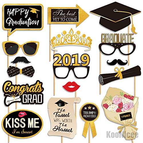 2019 Graduation Photo Booth Props - Real Gold Glitter, Grad Decorations Gifts for College High School Senior Prom Party Supplies, Large Size, 27 -