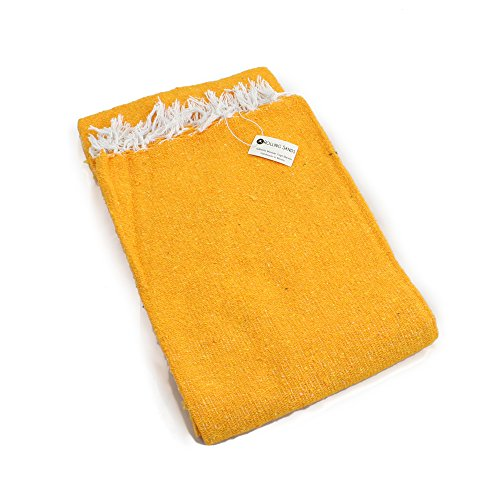 Hand Woven Solid Color Mexican Yoga Blankets Yellow