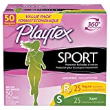 Playtex Sport Tampons with Flex-Fit Technology, Regular and Super Multi-Pack, Unscented - 50 Count (2 Packs (50 Count))