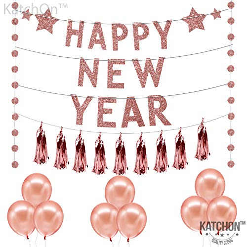 Rose Gold Happy New Year Banner Kit - Circle Garland Banner Sign | Balloons and Tassel | New Years Eve Party Supplies 2020 | Happy New Year Decorations | New Years Eve Decorations | NYE Decorations