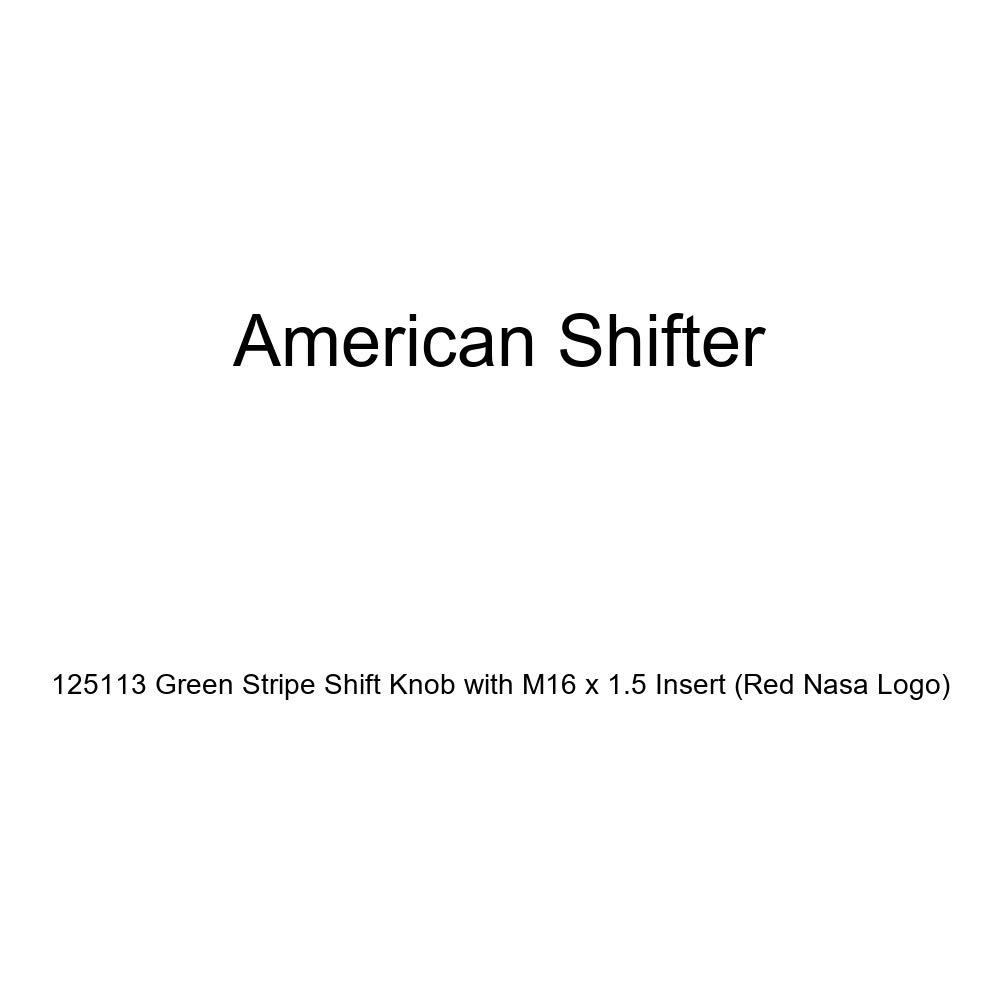 Red NASA Logo American Shifter 125113 Green Stripe Shift Knob with M16 x 1.5 Insert