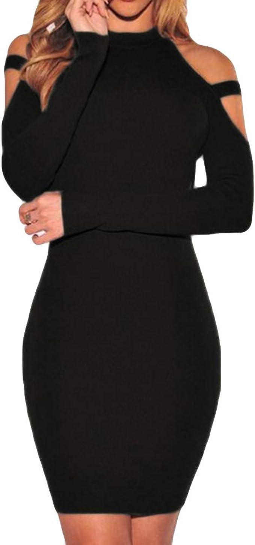 Leey Damen Kleid Langarm Eng Colonne Strandkleid Freizeitkleid