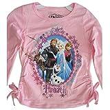 Disney Little Girls Pink Frozen Character Wintery Frame Long Sleeved Shirt 6