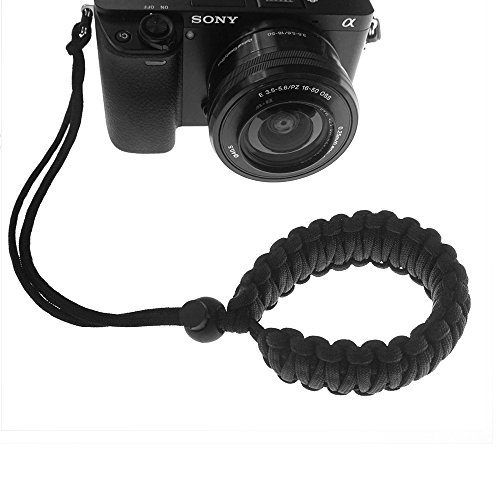 FoRapid Braided 550 Paracord Adjustable Camera Wrist Strap / Bracelet for Mirrorless Compact System DSLR Cameras, Binoculars (Black)
