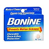 Bonine Motion Sickness Protection, Chewable Tablets, Raspberry - 16 ea., Pack of 2