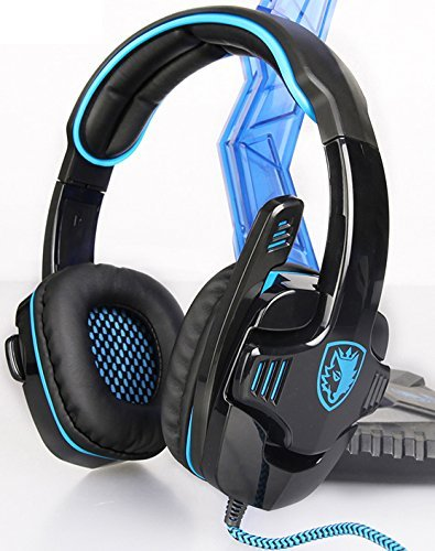 SADES SA901 Over Ear USB Wired 7.1 Surround Noise Cancelling PC Gaming Headset with Microphone (Black/Blue),by Smart@Purchase Shop