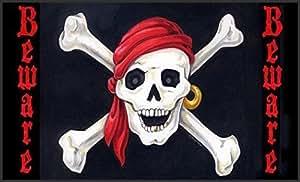 Doormat Beware 18 x 30 Inch Decorative Floor Mat Skull Bones Pirate Halloween Doormat