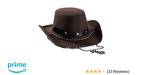 3b48674fdd4 Amazon.com  Baby Cowboy Hat - Cowboy Hat Toddler – Studded Cowboy Hat -  Brown Felt Cowboy Hat - Cowboy Accessories by Funny Party Hats  Sports    Outdoors