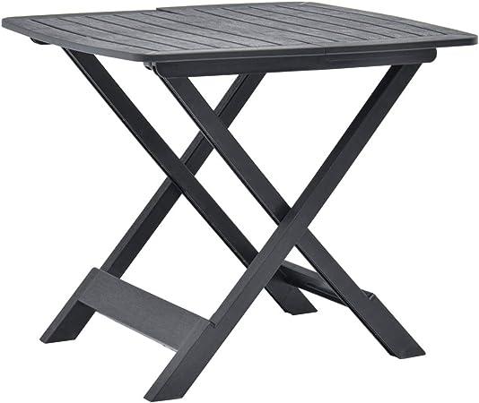 vidaXL - Mesa de jardín Plegable, para balcón, terraza, Camping, Mesa Auxiliar, Mesa de Comedor, Mesa de Bistro, Antracita, 79 x 72 x 70 cm, plástico: Amazon.es: Hogar