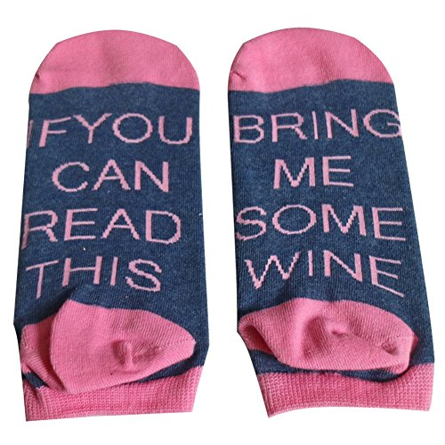 Comwarm Unisex Funny Saying Fuck Off Combed Cotton for Women Mens Stripe Socks (Pink Blue Wine)