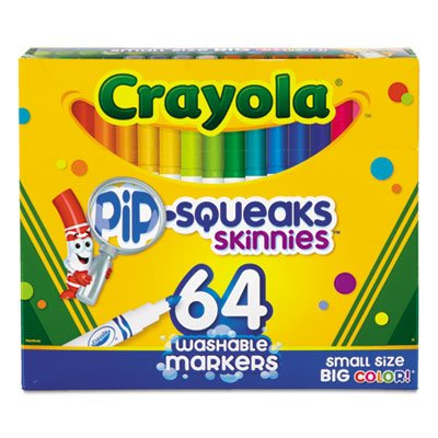 (Pip-Squeaks Skinnies Washable Markers, 64 Colors, 64/Set (2 Sets))