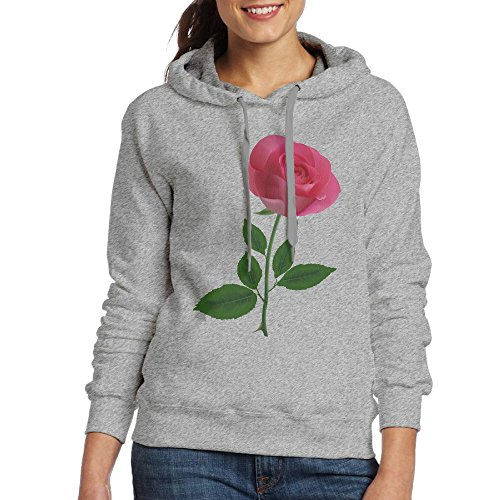 MINF Woman's Pink Rose Clipart Flower Illuminati 100% Cotton Sweatshirts (Clipart Pink Roses)