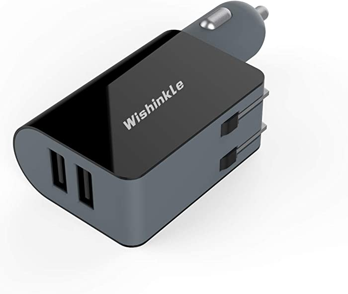 Wishinkle UL Certified 2-in-1 Compact Wall Charger, Portable 2 Port Dual USB Car Charger with Foldable Plug Power Adapter, Compatible with iPhone X XR XS 7 8 Plus Note 8 9 Galaxy S8 S9 Plus and More