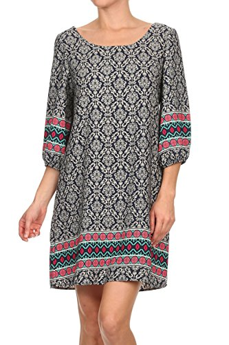 Vialumi Women's Juniors Ornate Print 3/4 Sleeve Shift Dress Black Multi - Dress Boatneck Print