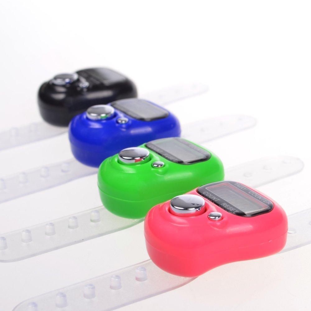 8 Pcs caja redefinible 5 dígitos LCD electrónico dedo contador de la mano (negro, caliente de color rosa, verde, azul) Hemore