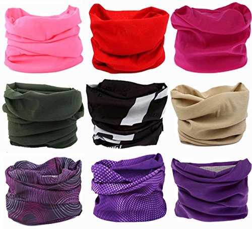 Kingree 9PCS Headbands, Outdoor Multifunctional Headwear, Sports Magic Scarf, High Elastic Headband with UV Resistance, Athletic Headwrap, Mens Sweatband, Womens Hairband (Purity)