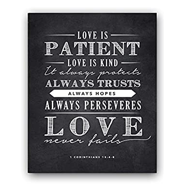 Corinthians 13;4-8 Love is Patient Quote Chalkboard Sign, Perfect Wedding or Anniversary Gift (8x10)