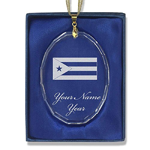Oval Crystal Christmas Ornament - Flag of Cuba - Personalized Engraving Included by SkunkWerkz (Image #3)