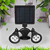 Alicenter(TM) Double Lamp Heads Mobile 360?? Rotate LED Solar Spot Light Outdoor Security L