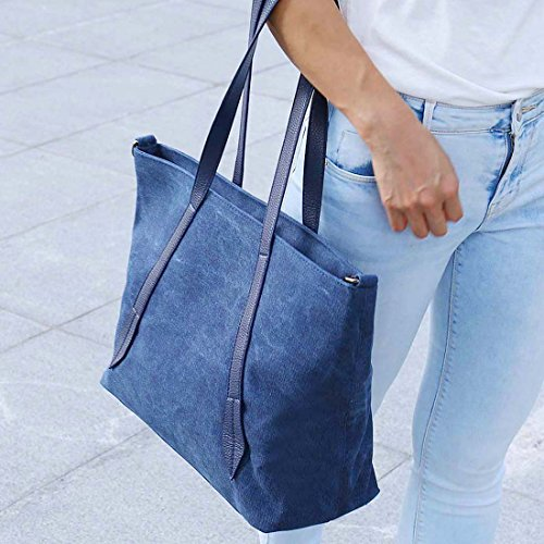 BMC Damen Leinen Material Umhängetasche Riemen, groß Doppel Top Griff Einkaufstasche Pale Silver