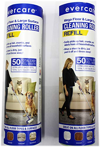 Evercare Mega Floor & Large Surface Cleaning Roller Refill 50 (2 Pack)