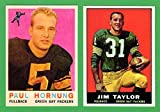 Paul Hornung, Jim Taylor (2) Card Football Reprint Lot (Packers)