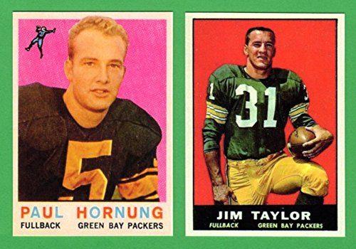 Paul Hornung, Jim Taylor (2) Card Football Reprint Lot (Jim Taylor Packers)