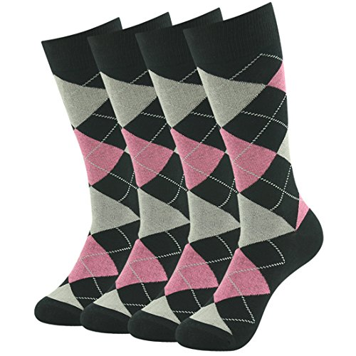 Argyle Knit Dress (Business Suit Office Socks, SUTTOS Father's Day Gift Socks Men's Ultimate Charged Cotton Knit Comfortable Pink Black Jacquard Plaid Argyle Design Dress Socks for Groomsmen Gifts,4 Pairs)