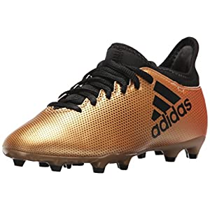 adidas Performance Boys' X 17.3 FG J, Tactile Gold/Core Black/Solar Red, 3.5 M US Big Kid
