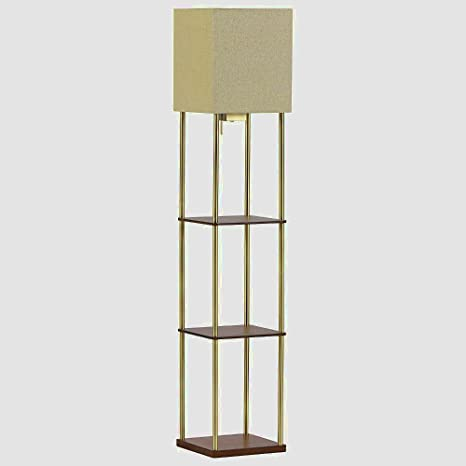 Floor Lamp With Storage Shelves Tall With USB Wood And Metal For Living  Room Or Bedroom