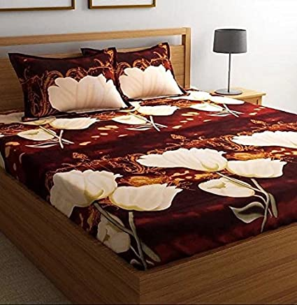 Danwrich Texture 152 TC_Elegant 3D Double Bedsheet with 2 Pillow Covers - Floral, Multicolour
