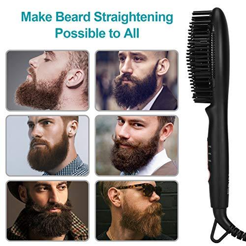 Bartglätter Kamm für Herren, BESTBOMG Haarglätter Bürste, 3 Temperaturen Anti-Verbrühungs-Bartglättungsbürste mit LED-Display-Bartkamm für zu Hause und unterwegs (Oval)