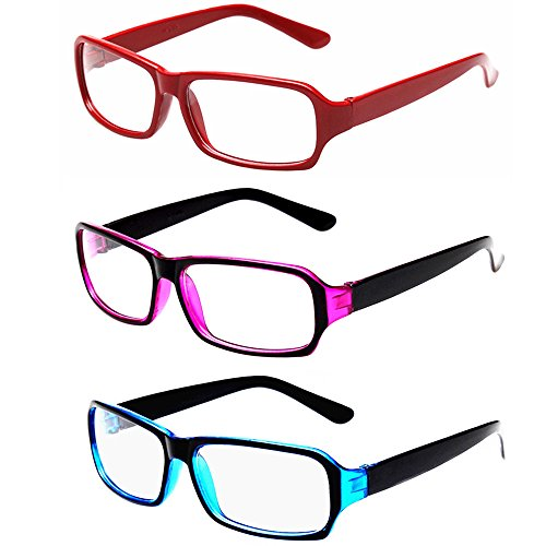 FancyG Vintage Inspired Classic Retro Style Rectangle Shape Glasses Frame Clear Lens Eyewear 3 Pieces Color - Large Glasses Rectangle