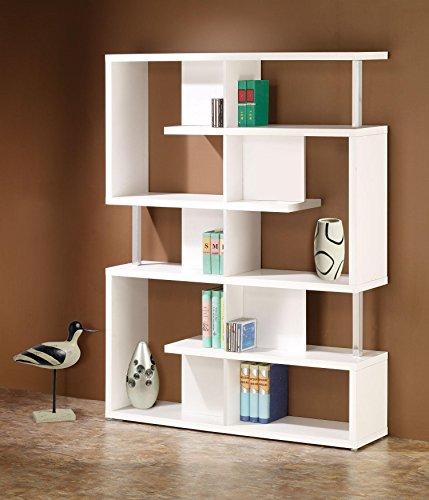 5-Tier Bookcase White and - Metal Contemporary Bookcase