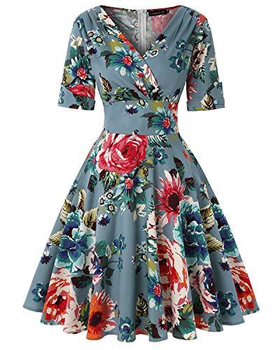 Women's 50s Vintage Autumn Dress V Neck Half Sleeve Floral Tea Cocktail Party A-Line Midi Dress (Floral Dark Blue,Size S)