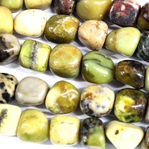 Fashiontrenda Natural Color Free Size Nuggets 10-12mm Gemstones Loose Beads Findings DIY Jewerlry Making (Yellow Moss Agate) (Moss Yellow Agate)