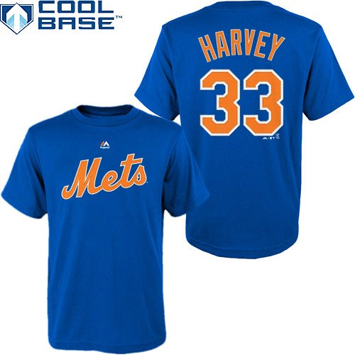 Matt Harvey New York Mets #33 MLB Youth Cool Base Synthetic Player T-Shirt (Youth Large 14/16)