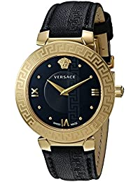 Women's 'Daphnis' Swiss Quartz Stainless Steel and Leather Casual Watch, Color:Black (Model: V16050017)