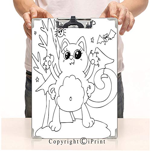 Aluminum clipboard Paper Clips,Steel Metal clipboard,A4 Folder,Office School Workers use,Coloring Halloween cat Monster with bat Wings]()