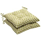 Pillow Perfect Indoor/Outdoor Green/White Geometric Tufted Seat Cushion, 2-Pack