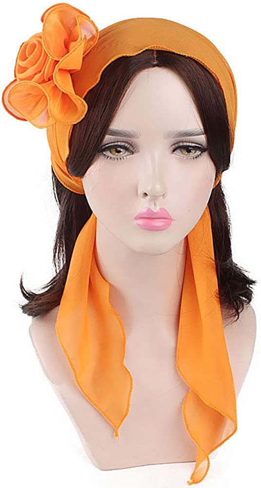 Bleu Anqeeso Bandeau /à cheveux en mousseline de soie pour femme Motif fleurs F