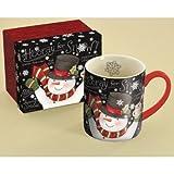 "LANG - 14 oz. Ceramic Coffee Mug - ""Chalkboard Snowman"", Art by Susan Winget - Snowflakes, Snowman"