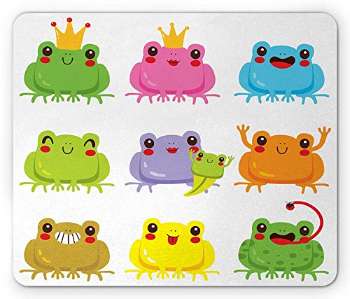 Kawaii Mouse Pad, Colorful Kawaii Frogs with Different Poses Cute King and Queen Amphibian Animals, Standard Size Rectangle Non-Slip Rubber Mousepad, Multicolor