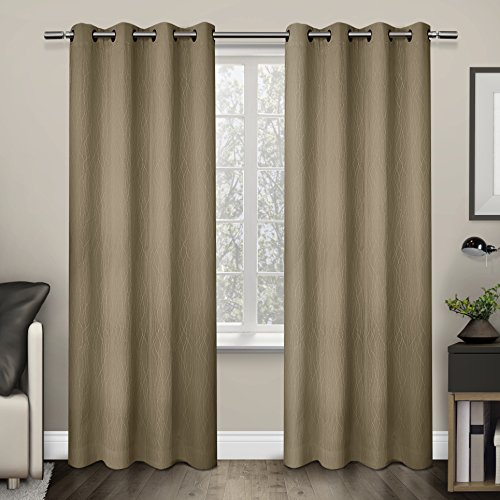 Exclusive Home Curtains Crete Textured Jacquard Thermal Grommet Top Window Curtain Panel Pair, Camel, - Camel Pottery