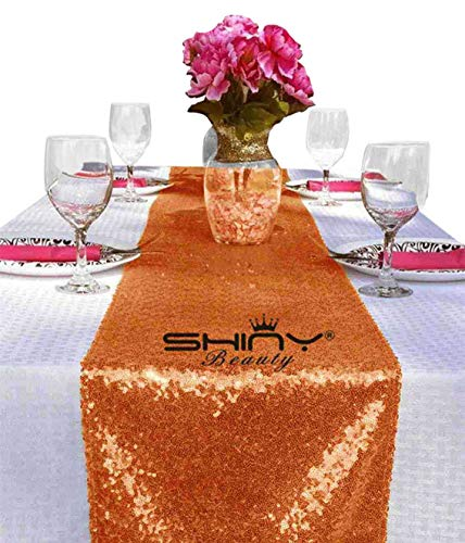 ShinyBeauty Color Sequin Table Runner-12 by 72-Inch,Custom Handmake Elegant Wedding Event Table Runner (1, Coral) ()