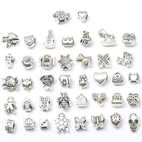 Animal Bracelet Charm - 80 Pcs Big Hole Beads, Antique Metal Beads Charm Pendant for Bracelet Jewelry Making (Tibetan Silver Tone)